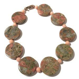 💝 Vintage UNAKITE Stone 14kGF Bracelet Artisan